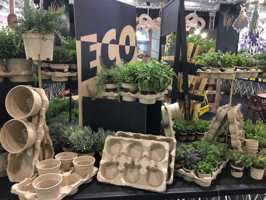 MODIFORM, producteur néerlandais d'emballages en plastique thermoformés pour l'horticulture, a présenté à l'IPM Essen 2018 sa nouvelle marque EcoExpert composée d'une gamme complète en papier moulé recyclé à 100%