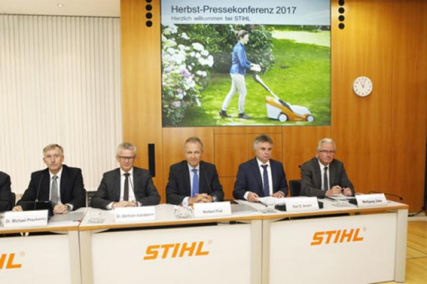 ANDREAS STIHL S.A.S. : Conférence de presse de rentrée du Groupe STIHL du 19 septembre 2017 avec une croissance à trois chiffres annoncée, par Bertram Kandziora, pour les outils à batterie !