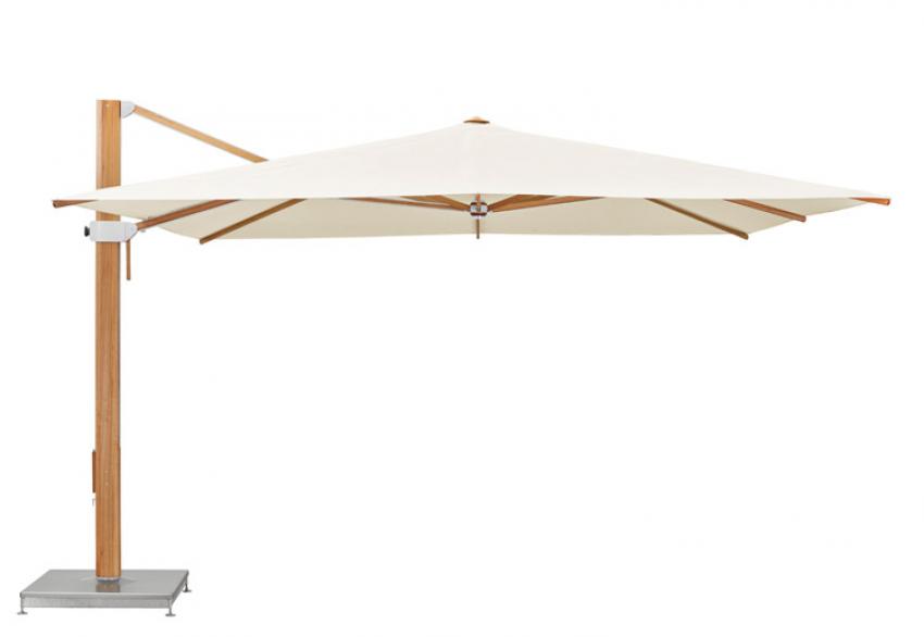 GLATZ FRANCE : Le nouveau parasol outdoor géant Aura format carré à bras libre unique, pour les professionnels et les particuliers, est équipé de socles en béton lisse non poreux à roulettes pour plus de confort